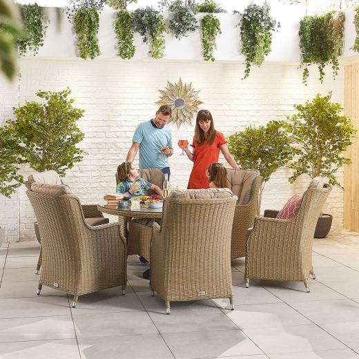 Thalia 6 Seat Dining Set - 1.35m Round Table - Willow