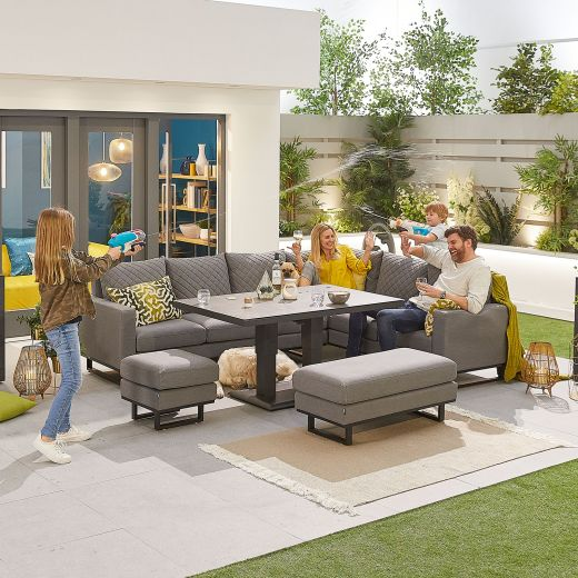 Eclipse Outdoor Fabric Casual Dining Set with Stools and Rising Table - Light Grey