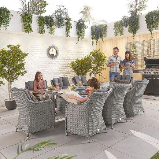 Camilla 8 Seat Dining Set - 2m x 1m Rectangular Table - White Wash