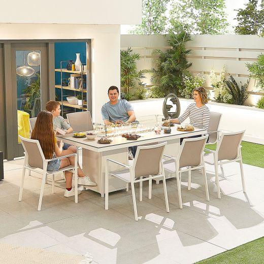 Milano 8 Seat Dining Set - 2m x 1m Rectangular Firepit Table - White Frame