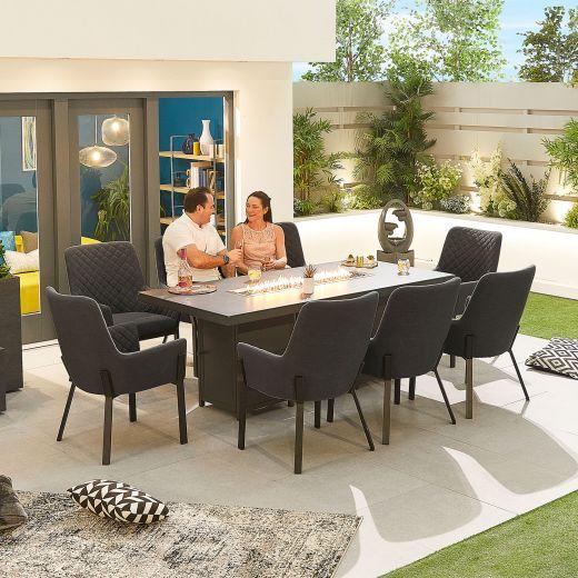 Genoa Outdoor Fabric 8 Seat Rectangular Dining Set with Firepit Table - Dark Grey