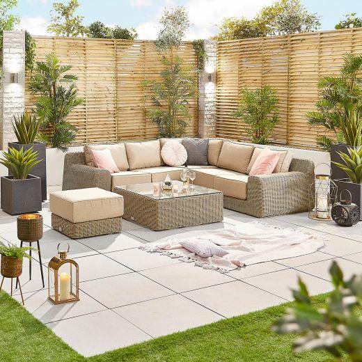 Luxor 1B Rattan Corner Sofa Set - Willow