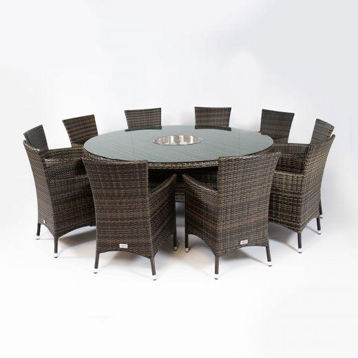 Amelia 10 Seat Dining Set - 1.8m Round Ice Bucket Table - Brown