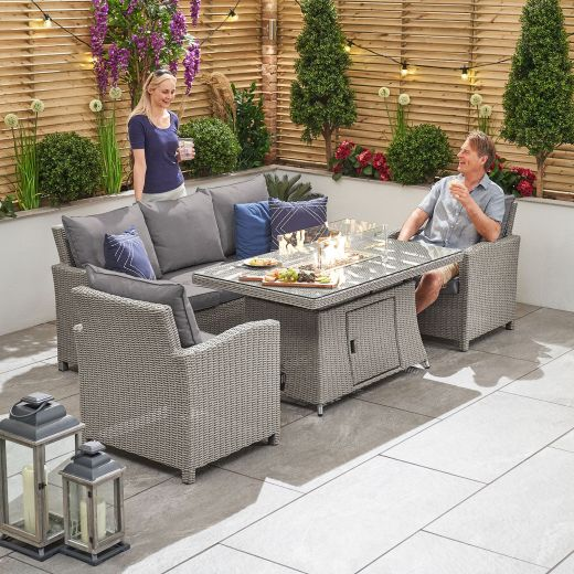 Ciara 3 Seat Casual Dining Sofa Set with Rising Gas Firepit Table - White Wash