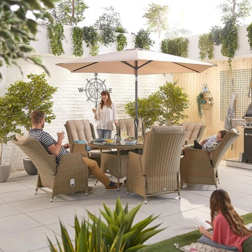 Carolina 6 Seat Dining Set - 1.8m x 1.2m Oval Table - Willow