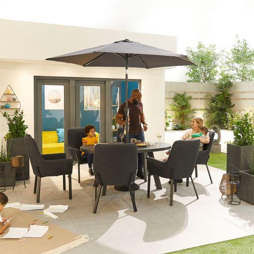 Genoa Outdoor Fabric 6 Seat Oval Dining Set - Dark Grey