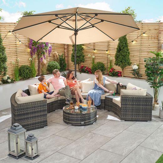 Kensington 1A Rattan Corner Sofa Set - Brown