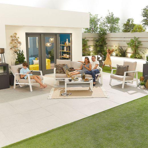 Enna Aluminium Reclining 3 Seat Sofa Set - White Frame