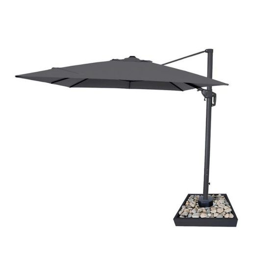 Galaxy 4m x 3m Rectangular Cantilever Parasol with LED Lights - Grey
