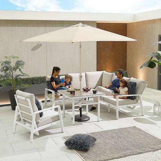 Compact Enna Aluminium Reclining Casual Dining Corner Sofa Set with Parasol Hole & Armchair - White Frame