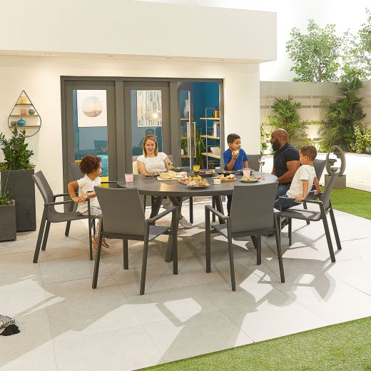 Roma 8 Seat Dining Set - 1.8m Round Table - Grey Frame