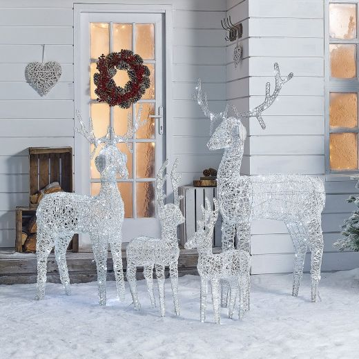 The Large Ralph Family - 180cm 150cm 100cm & 80cm White Rattan Christmas Reindeer