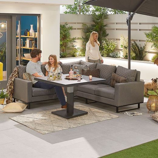 Compact Eclipse Outdoor Fabric Casual Dining Set with Rising Table - Light Grey