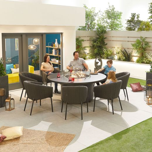 Edge Outdoor Fabric 8 Seat Round Dining Set with Firepit - Dark Grey