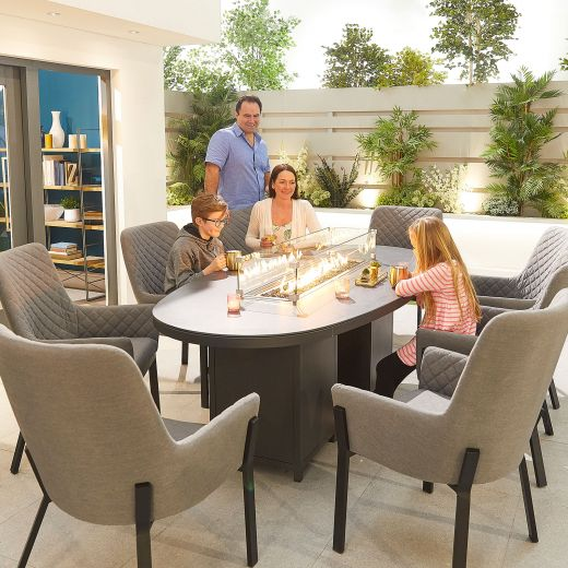 Genoa Outdoor Fabric 8 Seat Oval Dining Set with Firepit Table - Light Grey