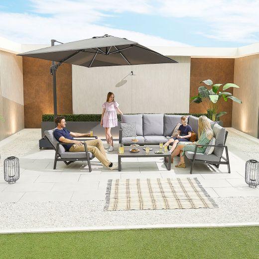 Enna Aluminium Reclining Corner Sofa Set with Armchair - Grey Frame