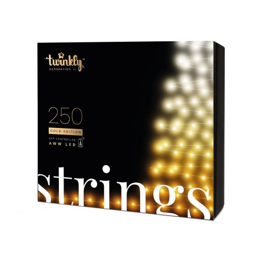 Twinkly 250 Gold Edition LED Smart App Controlled Christmas String Lights (20m Lit Length)