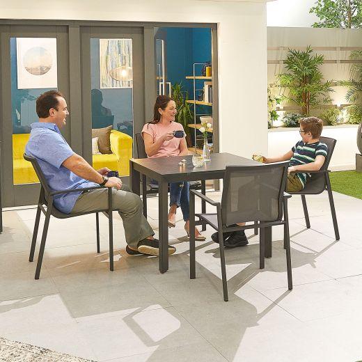 Milano 4 Seat Dining Set - 90cm Square Table - Grey Frame