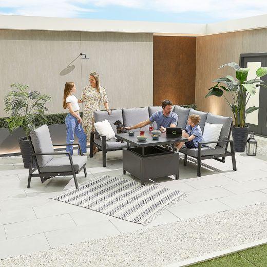 Compact Enna Aluminium Reclining Casual Dining Corner Sofa Set with Rising Table & Armchair - Grey Frame