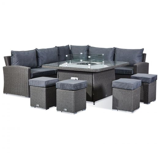 Deluxe Ciara Casual Dining Corner Sofa Set with Firepit Table - Slate Grey