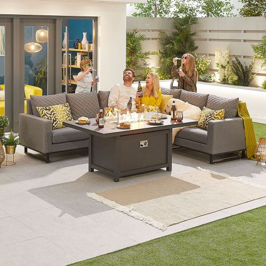 Eclipse Outdoor Fabric Casual Dining Set with Firepit Table - Light Grey