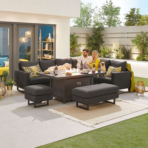 Eclipse Outdoor Fabric Casual Dining Set with Stools and Firepit Table - Dark Grey