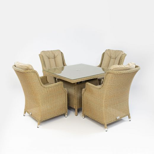 Thalia 4 Seat Dining Set - 1m Square Table - Willow