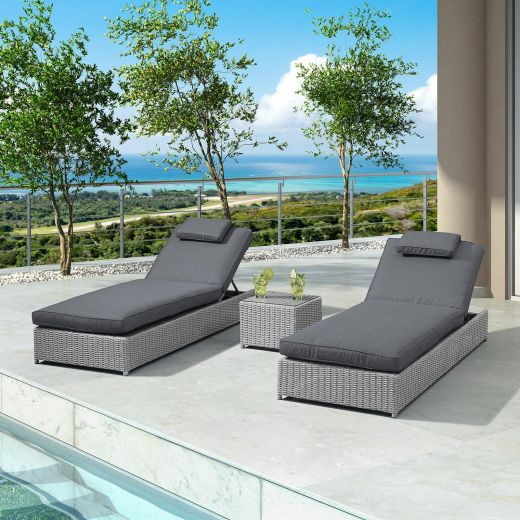 Rhodes Sun Lounger Set - White Wash