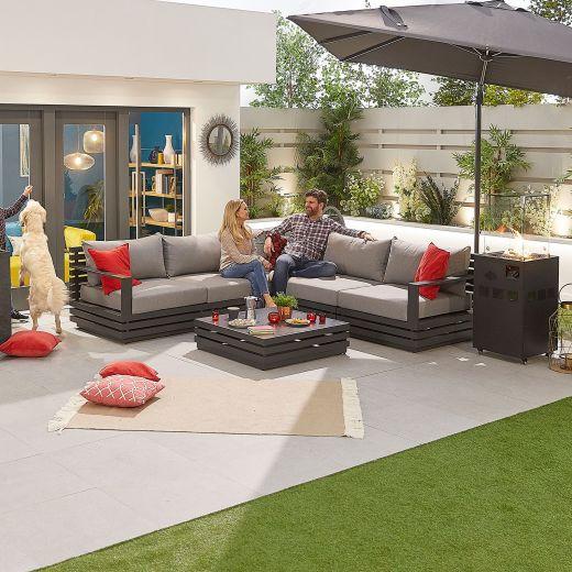 San Marino Aluminium Corner Sofa Set - Grey Frame