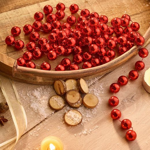 Country Christmas Plastic Bead Garland - Red