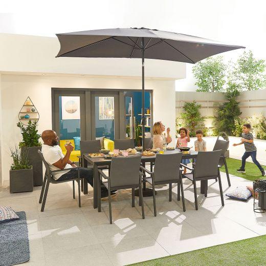 Roma 8 Seat Dining Set - 2m x 1m Rectangular Table - Grey Frame