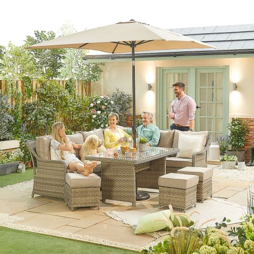 Oyster Casual Dining Corner Sofa Set with Parasol Hole