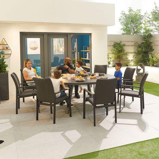 Hugo Outdoor Fabric 8 Seat Round Dining Set - Dark Grey