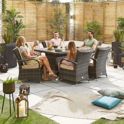 Olivia 6 Seat Dining Set - 1.5m x 1m Rectangular Table - Brown