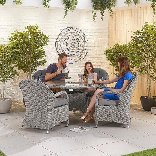 Leeanna 4 Seat Dining Set - 1.2m Round Table - White Wash