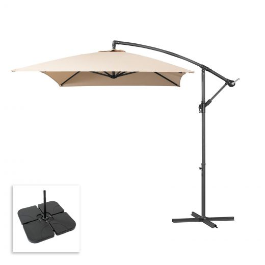 Barbados 3m x 2m Rectangular Cantilever Parasol with Square Base Slabs - Beige