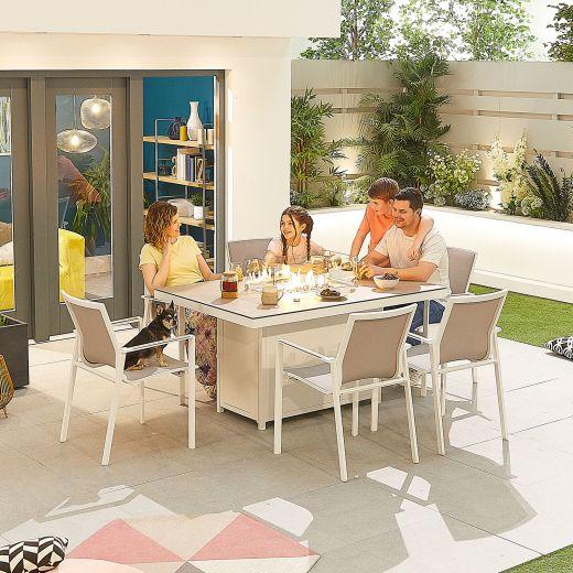 Milano 6 Seat Dining Set - 1.5m x 1m Rectangular Firepit Table - White Frame