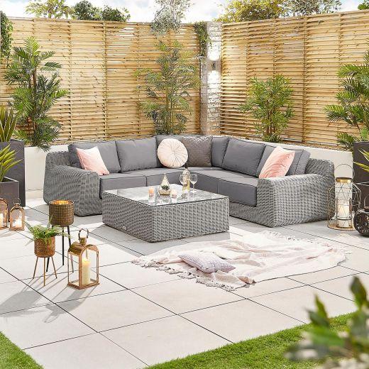 Luxor 1A Corner Sofa Set - White Wash