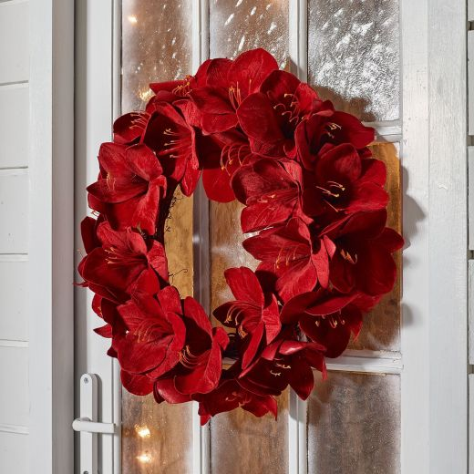 60cm Amaryllis Artificial Christmas Wreath - Red