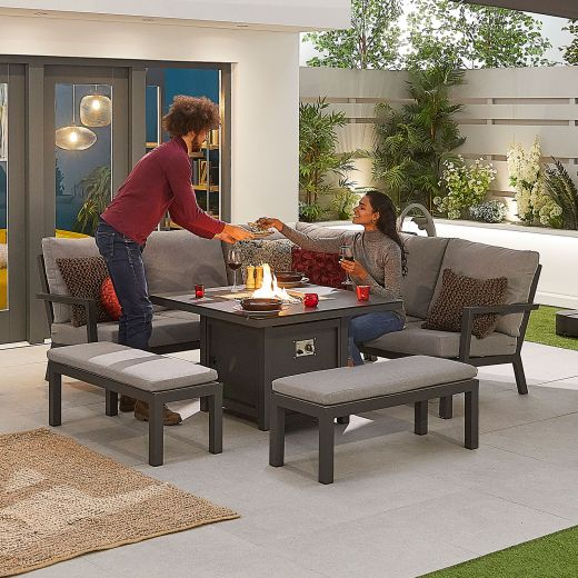 Compact Vogue Aluminium Casual Dining Corner Sofa Set with Firepit Table & Benches - Grey Frame
