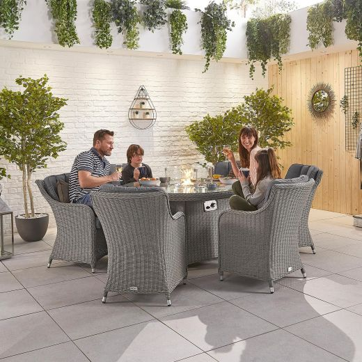 Camilla 6 Seat Dining Set - 1.5m Round Firepit Table - White Wash