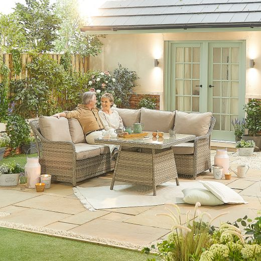 Compact Oyster Casual Dining Corner Sofa Set