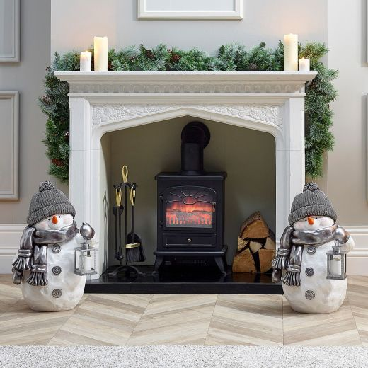 Pair of 63cm Tinsel the Snowman Figures