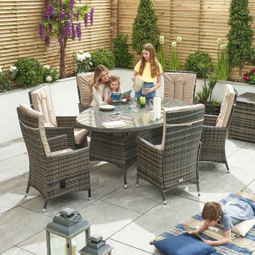 Ruxley 6 Seat Dining Set - 1.8m x 1.2m Oval Table - Brown