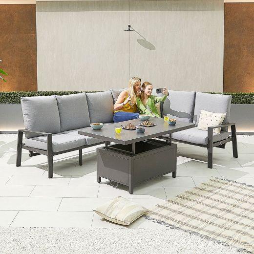 Enna Right Hand Aluminium Reclining Casual Dining Corner Sofa Set with Rising Table - Grey Frame