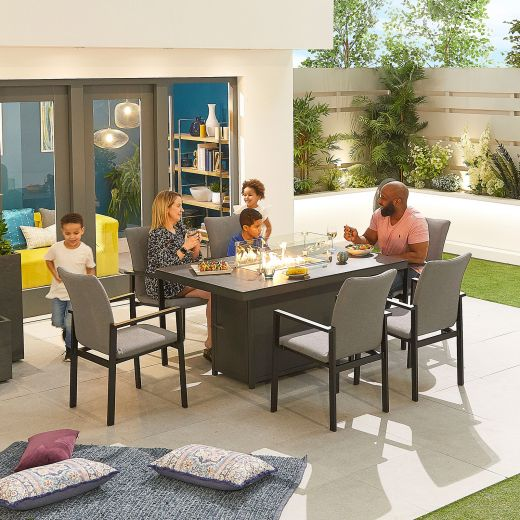 Hugo Outdoor Fabric 6 Seat Rectangular Dining Set with Firepit - Light Grey