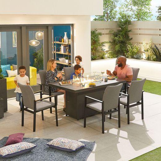 Hugo Outdoor Fabric 6 Seat Rectangular Dining Set with Firepit - Light Grey