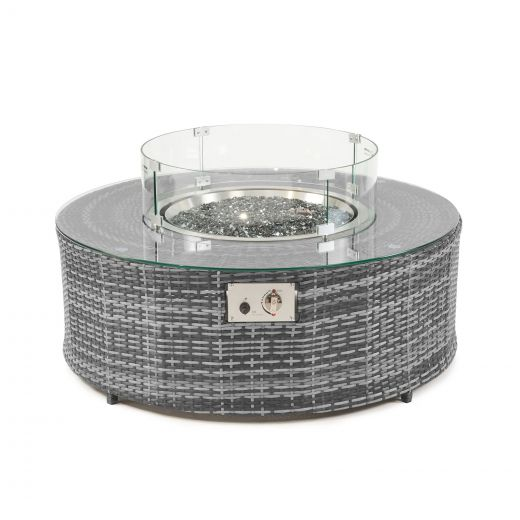 Kensington 1.1m Round Coffee Table with Gas Firepit - Grey