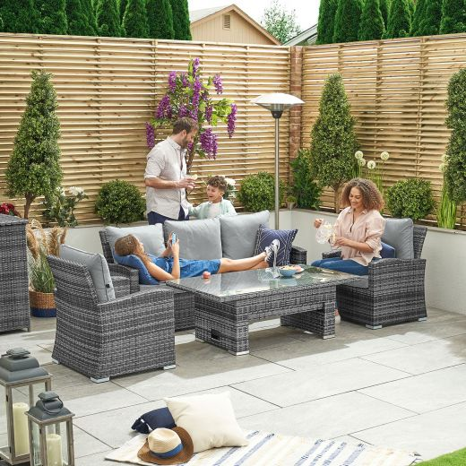 Cambridge 3 Seat Casual Dining Sofa Set with Rising Table - Grey