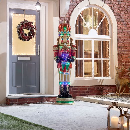 Lucas the 6ft LED Musical Drumming Nutcracker - Multi Coloured